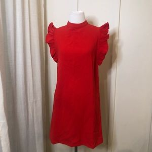 The Impeccable Pig Red Ruffle Sleeve Mini Dress S